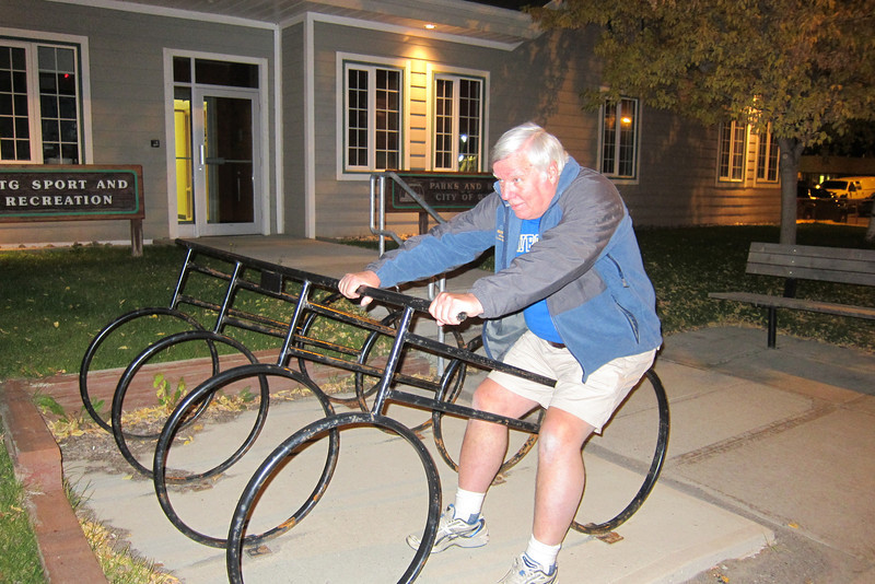 Bill trying a bicycle on for size.