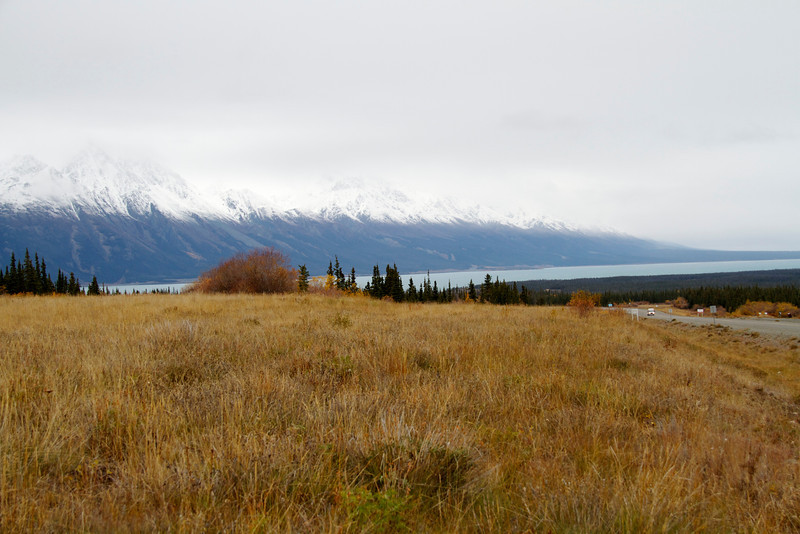 Approaching Lake Kluane on the ALCAN.