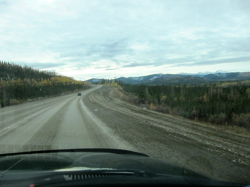 Non winter is construction season, and there is always road construction somewhere. This is on the ALCAN in the 23 miles between the US border and the Canada border into the Yukon, a very heavily frost-heaved area.