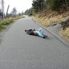 Photo by Carolyn. Clingmans Dome hike, NC & TN, John rolling down the path.