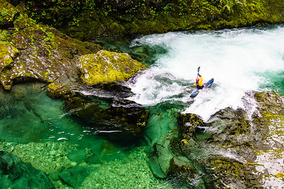 "Christian Woodard demonstrates why kayakers flock to the northwest on the ""Opal Creek"" section of the Little North Santiam in Oregon."