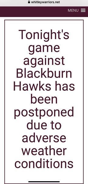 Warriors v Blackburn Hawks Sun 9 Feb 20