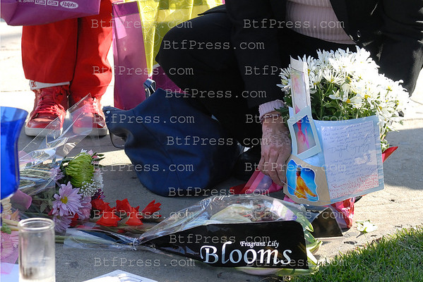Whitney Houston memorial at the Beverly Hilton in Los Angeles.