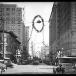 Christmas decorations on street, Los Angeles, CA, 1929