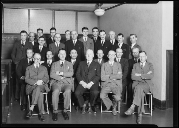 Group of men, Sun Life Assurance Co., James Oviatt Building, Los Angeles, CA, 1930