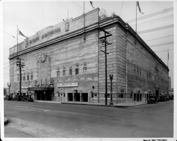The Olympic Auditorium advertising a world championship wrestling match