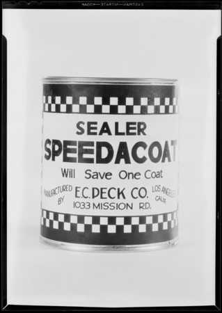 Speedacoat can, Southern California, 1931