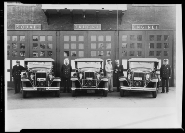 3 fire engines, Southern California, 1929