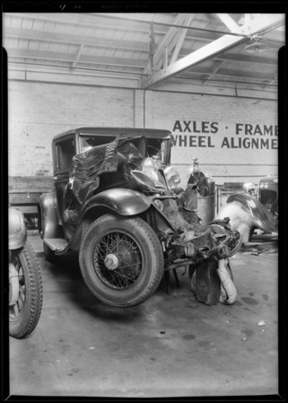 Marmon at service auto garage, Sunset Boulevard, Doris Malone owner, Southern California, 1930