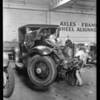 Marmon at service auto garage, Sunset Boulevard, Doris Malone owner, Southern California, 1930