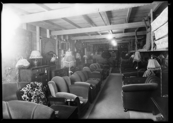 Interior of furniture store, Southern California, 1928