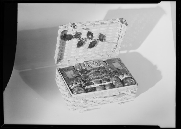 Basket of candied fruits, Southern California, 1931