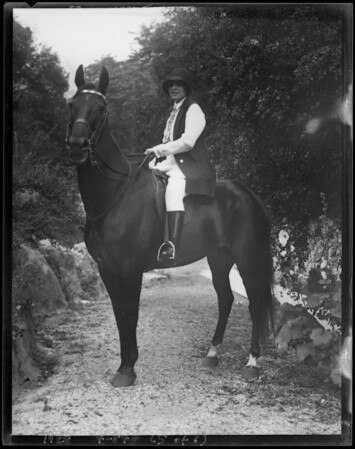 Miss Moss at Santa Monica Riding Academy, Southern California, 1928