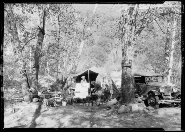 Camping equipment at Arroyo Seco, Southern California, 1925
