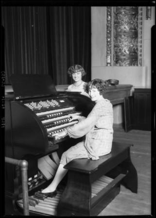 Girls at organ - Polytechnic High School, Southern California, 1925