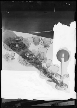 Glassware with candlestick, Southern California, 1929