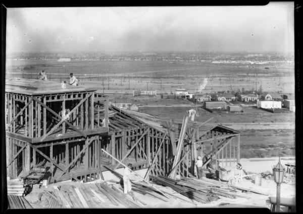 Construction shots in View Park, Los Angeles, CA, 1928