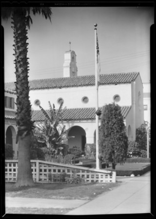 Detail of building, Pierce Brothers - Undertakers, Southern California, 1930