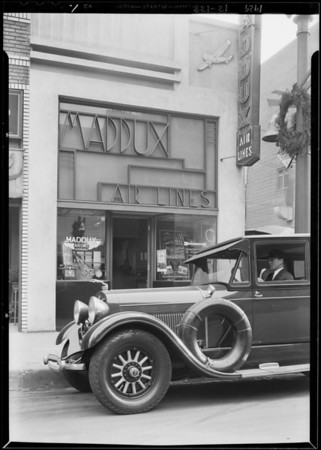 Lincoln car in front of Olive Street office, Los Angeles, CA, 1929