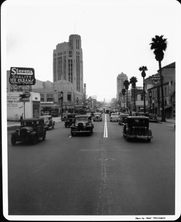 Looking north along Western Avenue with the Wiltern Theatre on the right side of the street