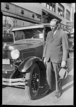 Tires on new Ford of Senator Pedrotti, Southern California, 1928