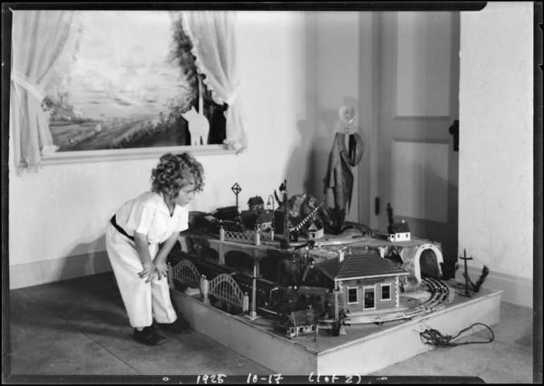 Train & artgoods taken at store, Broadway Department Store, Los Angeles, CA, 1925
