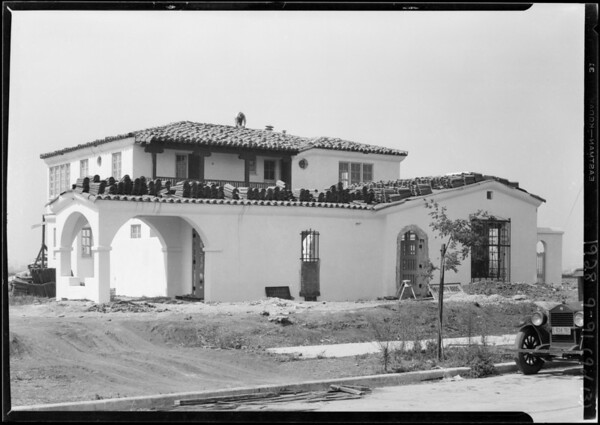 Houses under construction and shots for folder, Southern California, 1928
