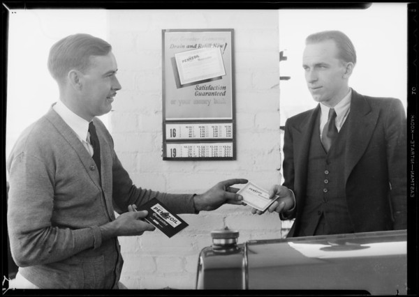 Signing guarantee, service station at South La Brea Avenue and West Pico Boulevard, Pennzoil, Los Angeles, CA, 1931