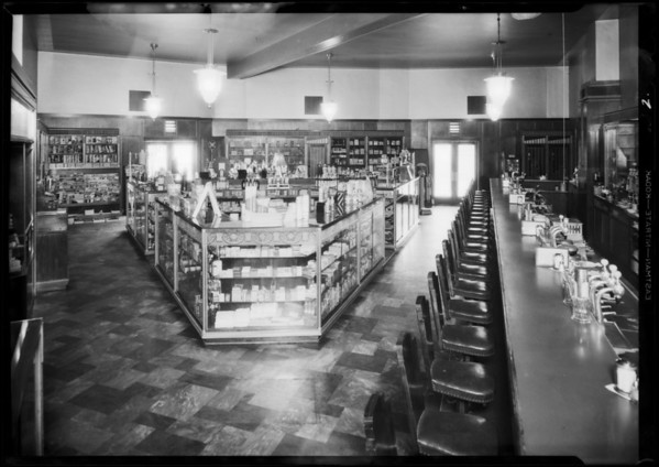 Interior and doorway of drugstore, Southern California, 1931