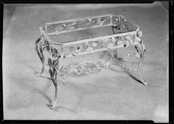 Ornamental iron table, Southern California, 1931