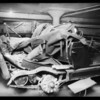 Wrecked Star Car in garage, Union Automobile Insurance, Southern California, 1928