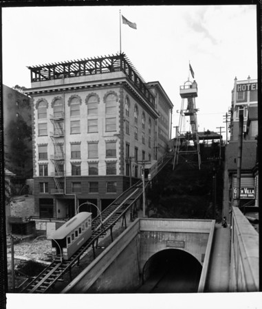 The Angels Flight Cable Railway going up Bunker Hill