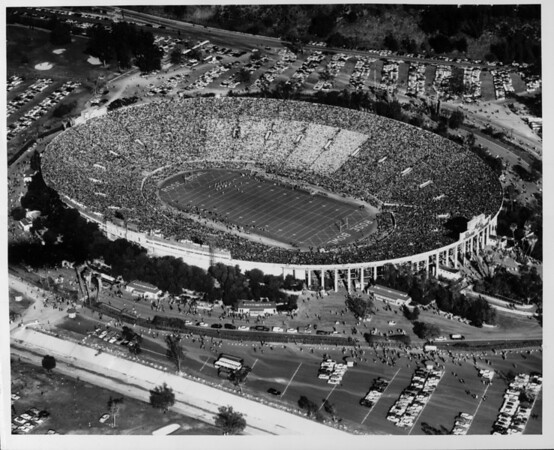 An aerial view of the Rose Bowl