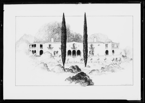 Line drawing of residence, Southern California, 1931