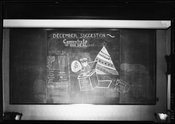 December 1927 blackboard, Southern California, 1928