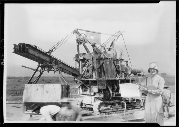 Composite of paving machine in Leimert Park, Los Angeles, CA, 1927