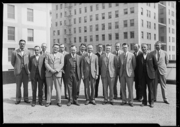 Group on roof of Masonic Club Building, Southern California, 1928