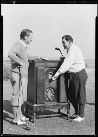 Golfers & radio, Southern California, 1929