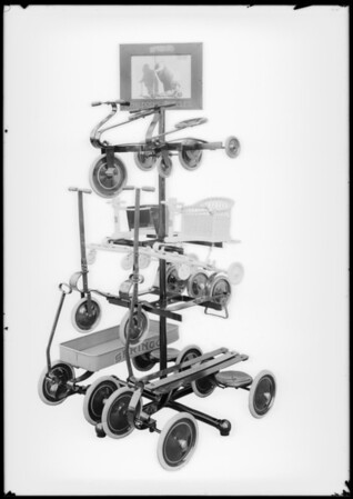 Toy rack and toys, Southern California, 1928
