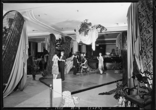 Display in silk department, Broadway Department Store, Los Angeles, CA, 1925