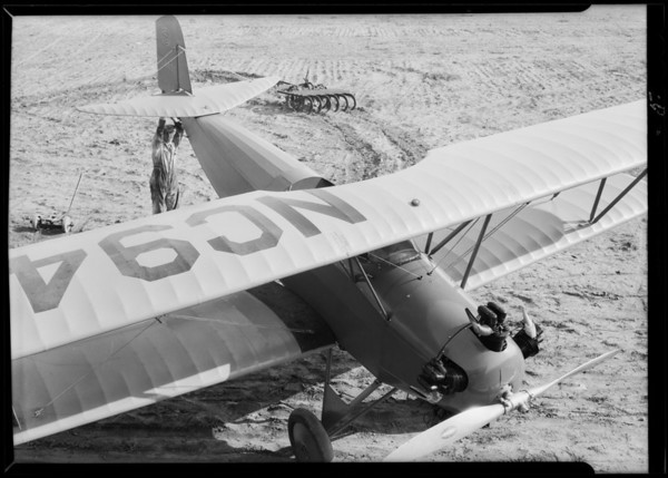 'Flat' plane at Kinner hangar for artist's angle, Southern California, 1930