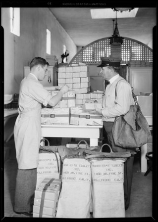 Mailman and parcel post, Southern California, 1931
