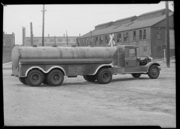 B. J. tractor type truck and trailer, Southern California, 1931