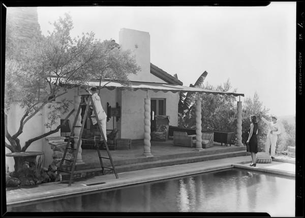 Awning at John Gilbert's home, Southern California, 1929