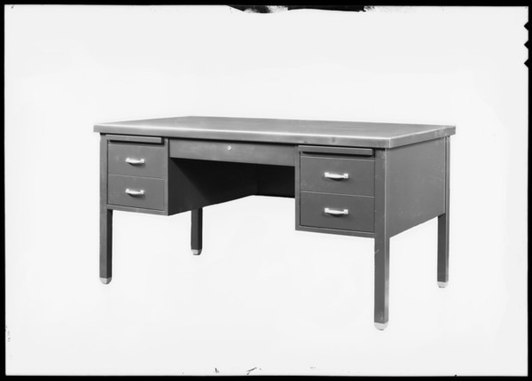 Desk, showing drawers, Steel Furniture Manufacturing Company, Southern California, 1930