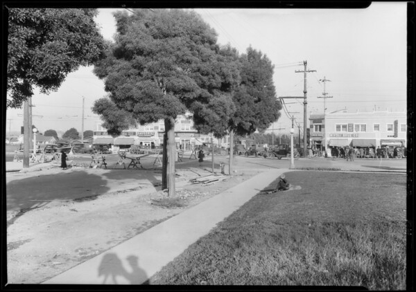 Sidewalk at West 54th Street and Angeles Mesa Drive [Crenshaw Boulevard], Los Angeles, CA, 1928