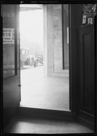 Entrance to drugstore, Santa Monica, CA, 1931