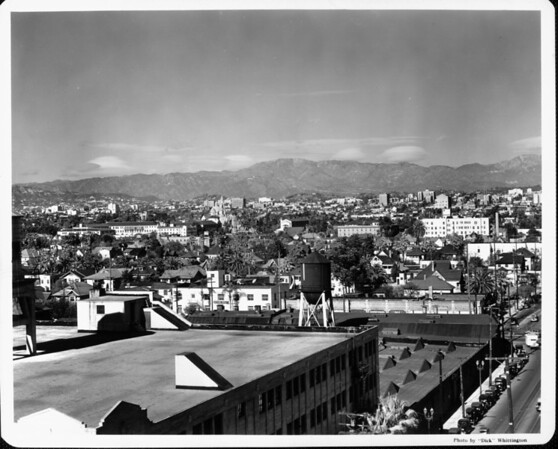 Panoramic view of Los Angeles near downtown from a rooftop