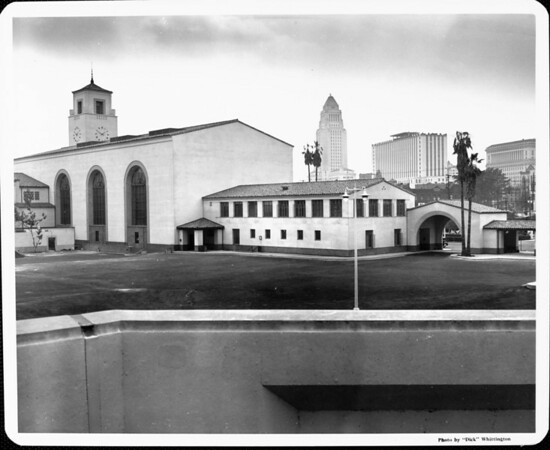 A view of Union Station with City Hall and the yet to be completed Federal Building in the background