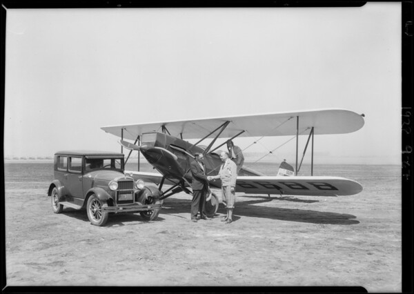 Airplane with Essex car on Mines Field [Los Angeles International Airport], Los Angeles, CA, 1928